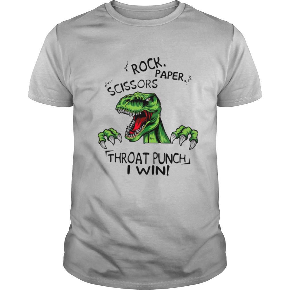 Dinosaur T Rex Rock Paper Scissors Throat Punch I Win shirt Classic Men's