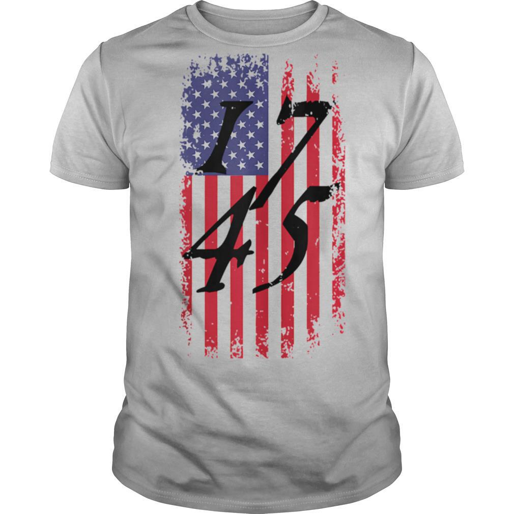 Distressed 17 45 USA Flag Patriotic President Donald Trump shirt Classic Men's