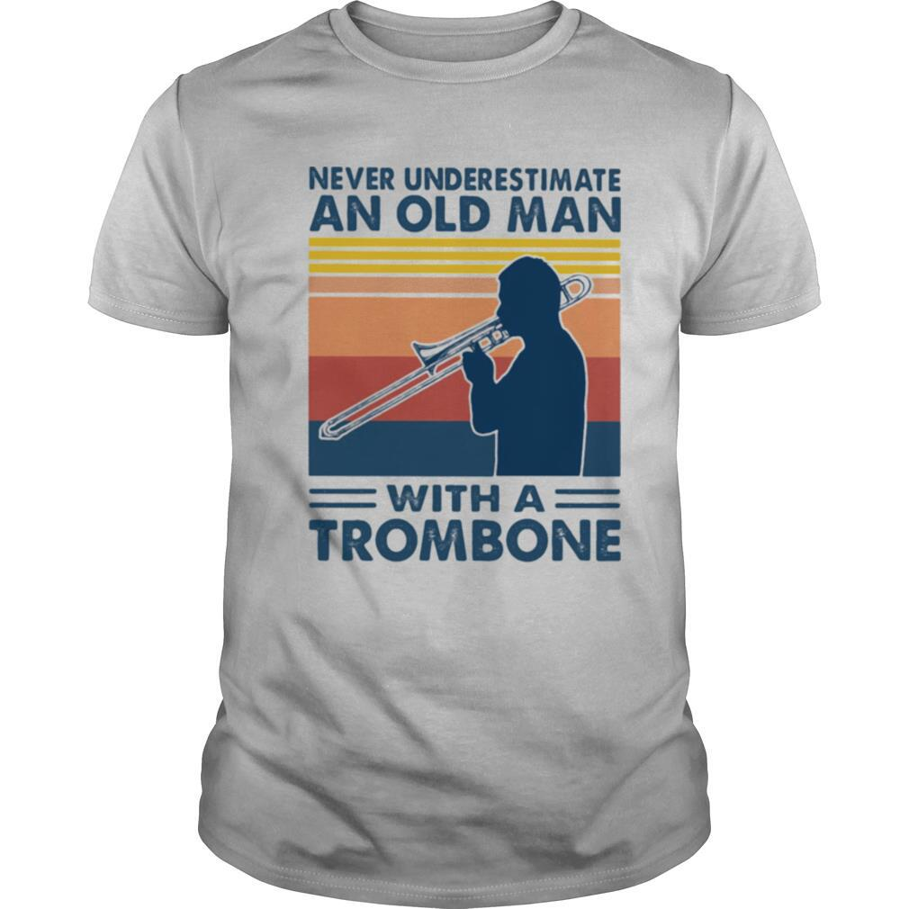 Never underestimate an old man with a trombone vintage shirt Classic Men's