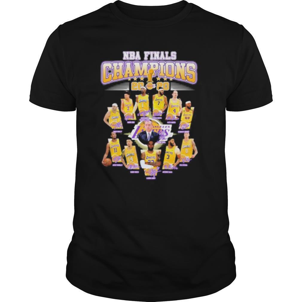 Los angeles lakers nba finals champions 2020 signatures shirt Classic Men's