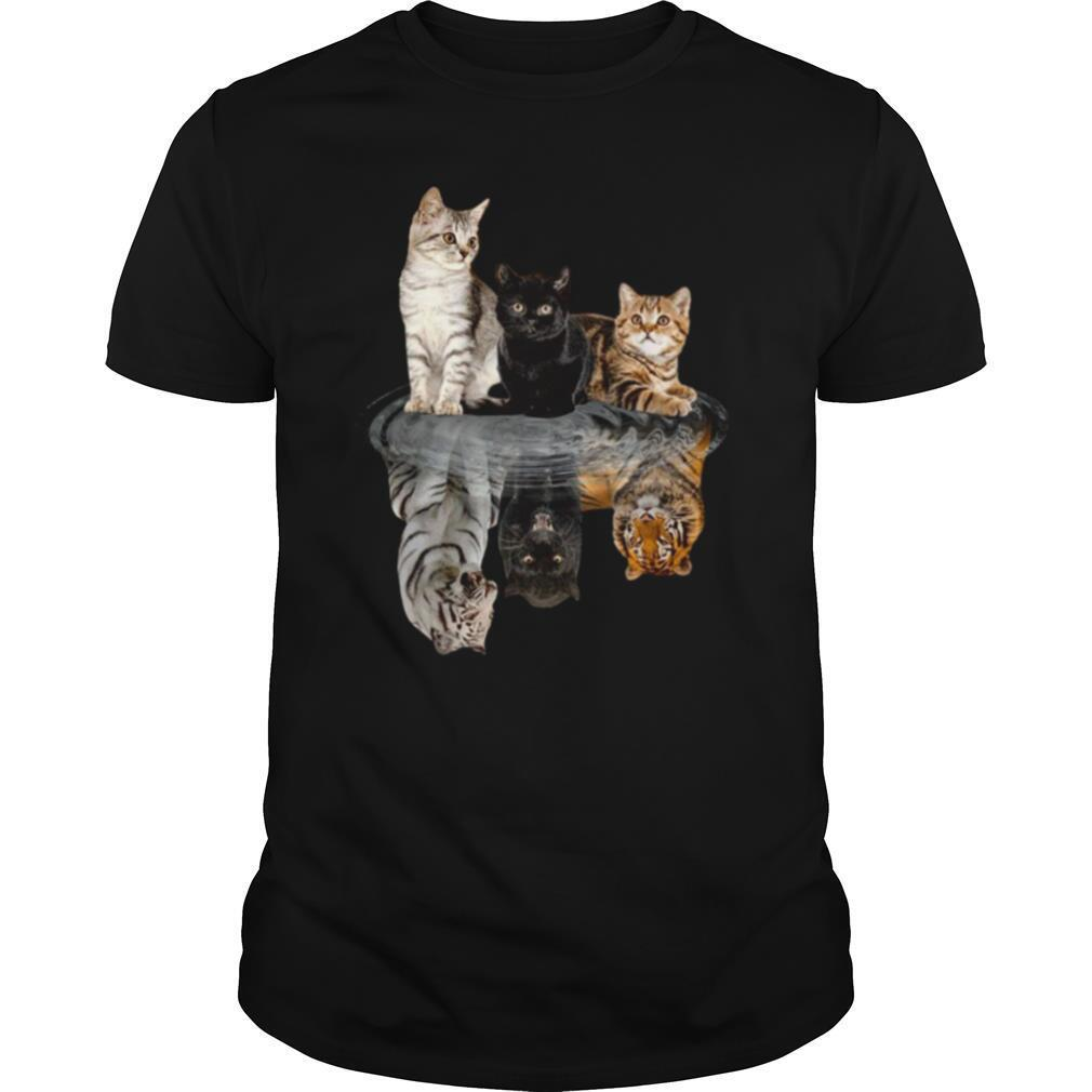The Cats Water Mirror Reflection Tigers shirt Classic Men's