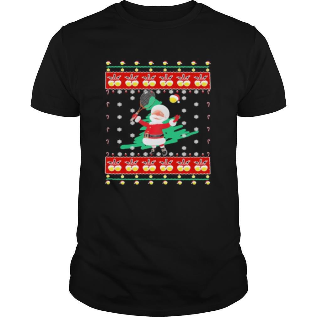 Santa claus playing badminton ugly christmas shirt Classic Men's