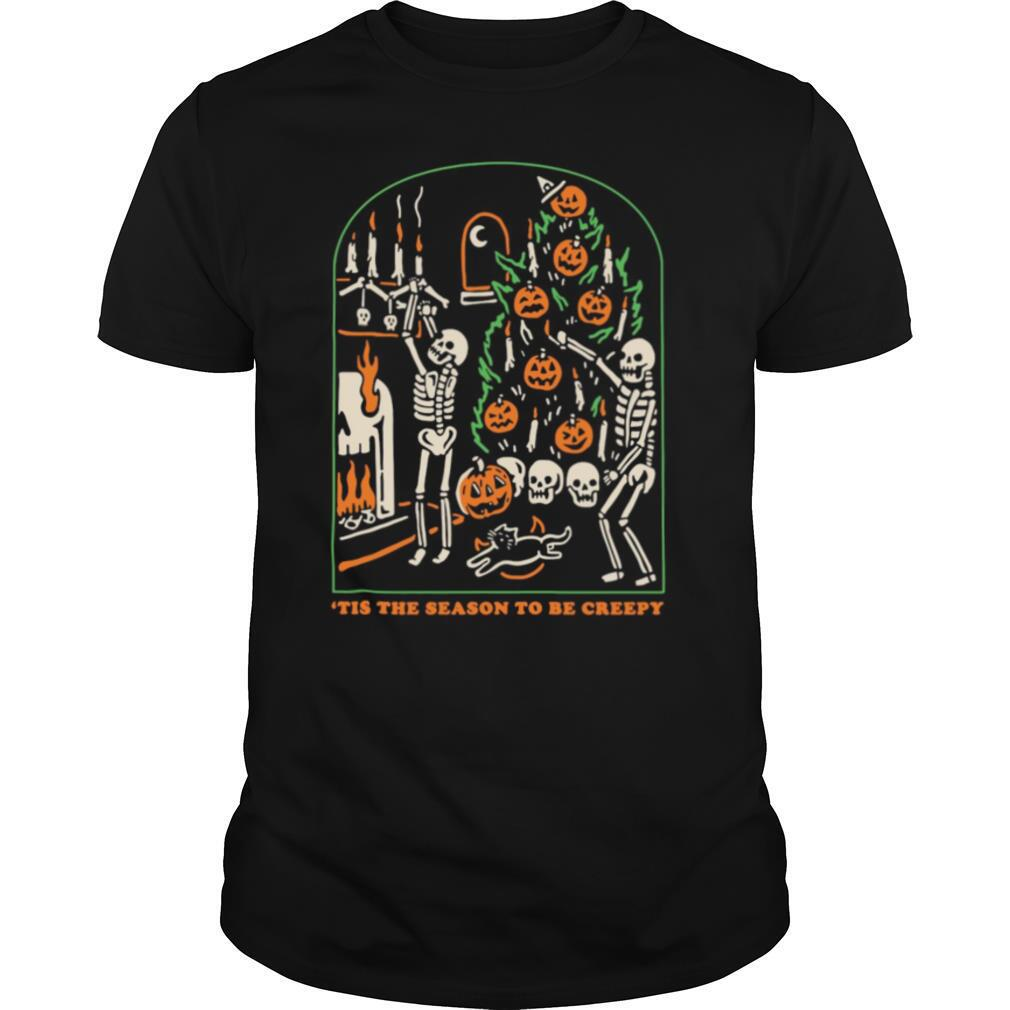 Skeleton Pumpkin Skull Tis The Season To Be Creepy shirt Classic Men's