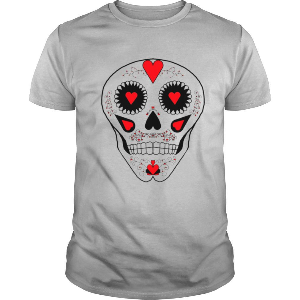 Skull Hearts Red Black White Day Of The Dead shirt Classic Men's