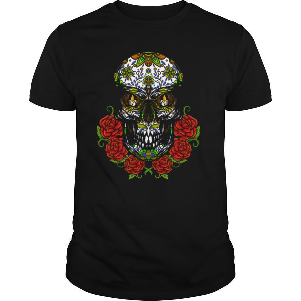 Sugar Skull In Flower Day Of Dead Dia De Muertos shirt Classic Men's