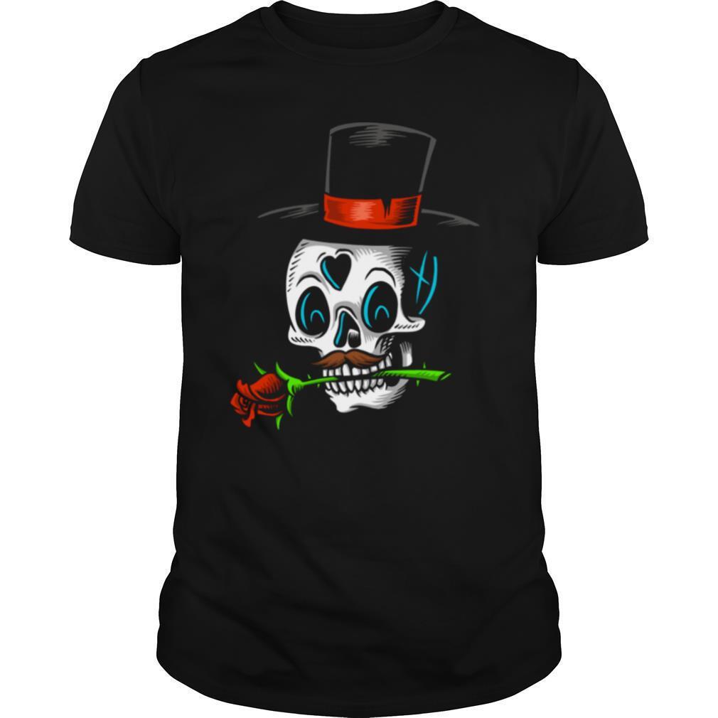The Man With Rose Sugar Skull Dia De Muertos Day Of Dead shirt Classic Men's