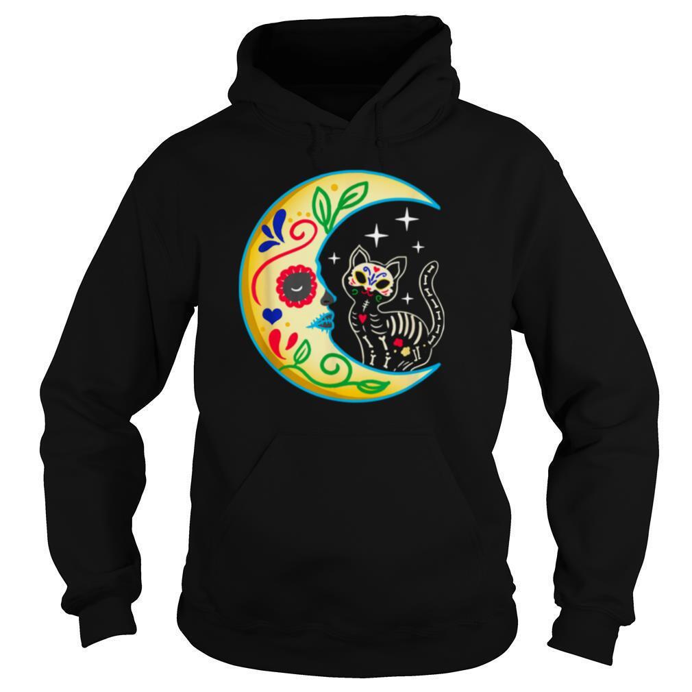 cat amp moon sugar skull dia de los muertos shirt