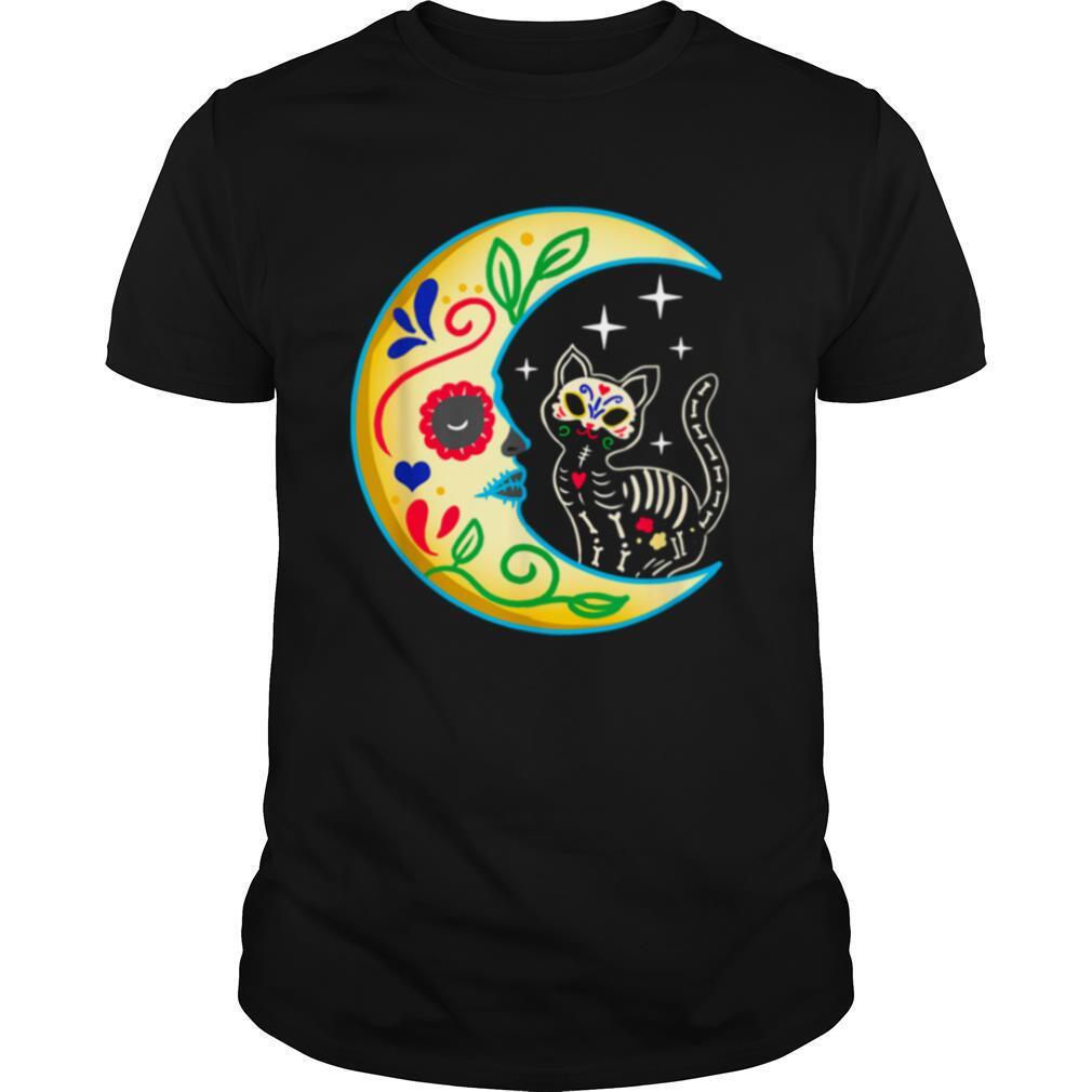 Cat Amp Moon Sugar Skull Dia De Los Muertos shirt Classic Men's
