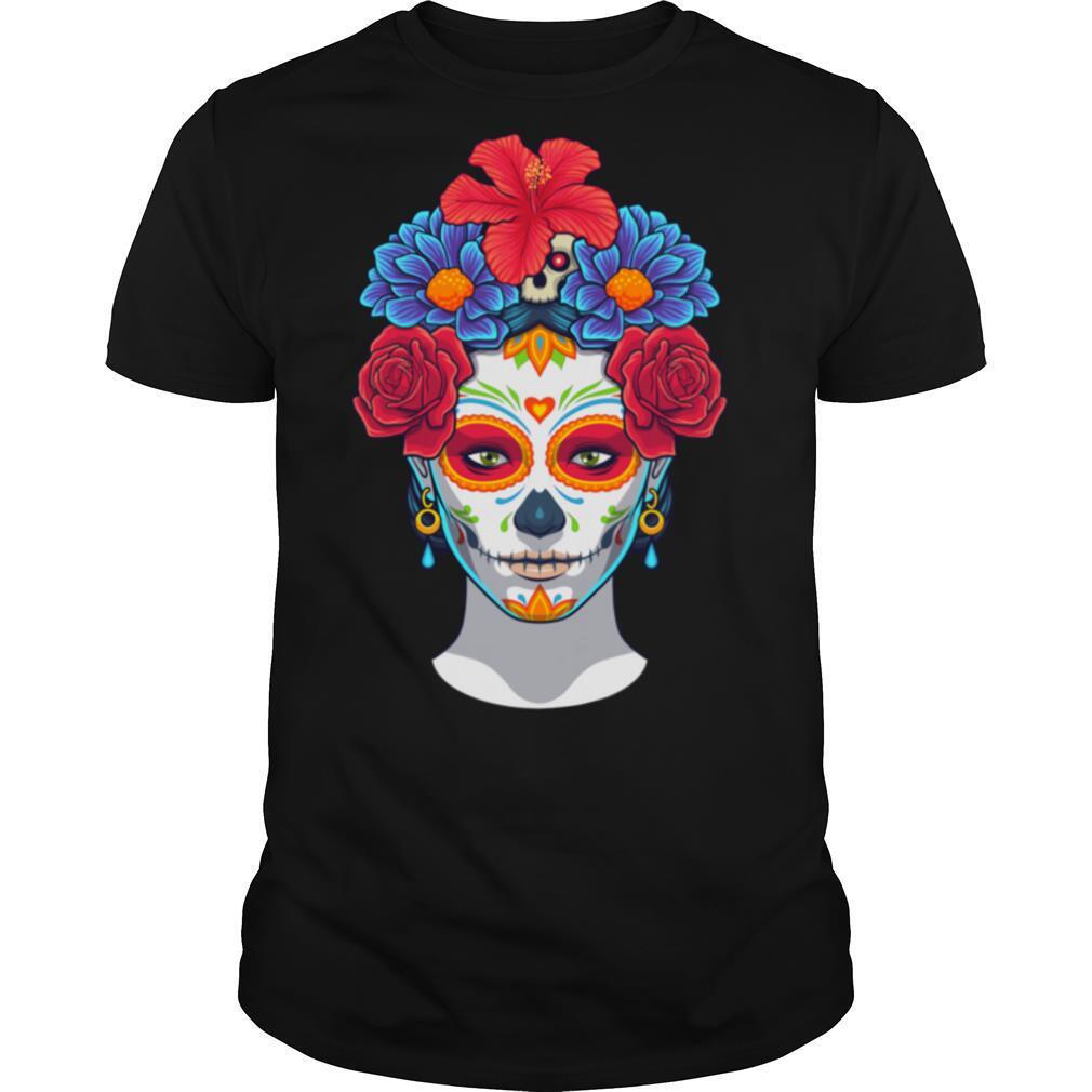 Hot Sugar Skull Woman Flower Day Dead Dia De Muertos shirt Classic Men's