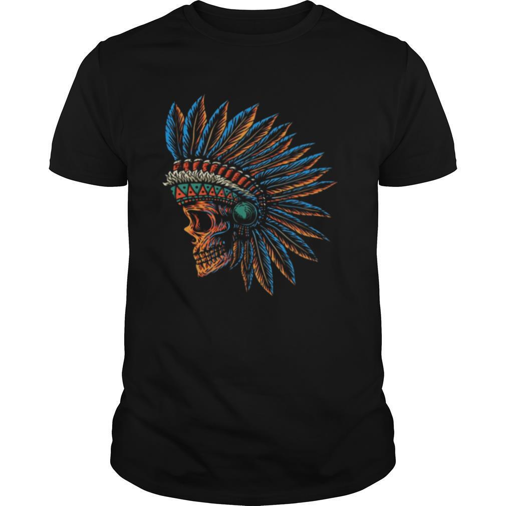 Skull Indian Side Position Day Of The Dead Retro Vintage shirt Classic Men's