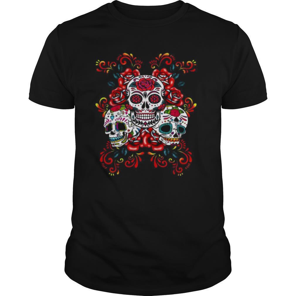 Triple Skull Red Floral Day Of The Dead Sugar Skulls shirt Classic Men's