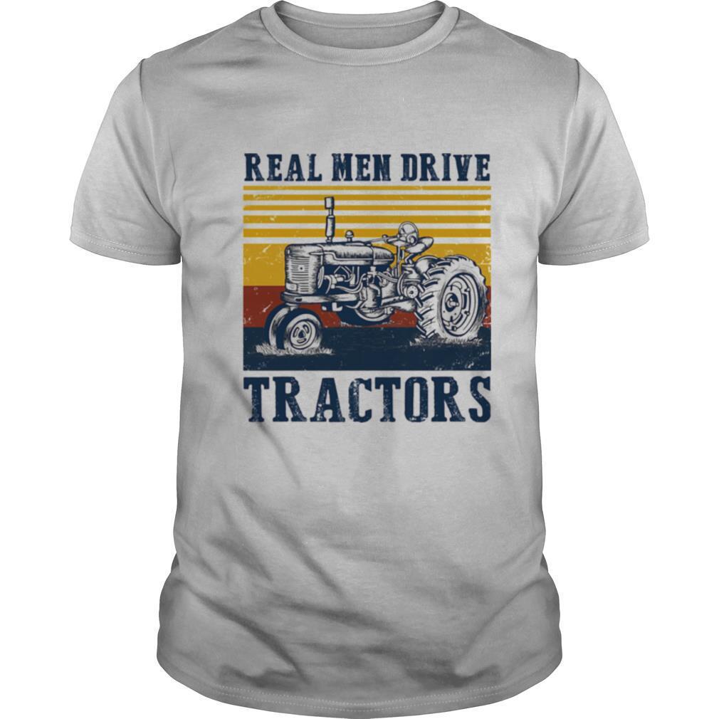 Real men drive tractors line vintage retro shirt Classic Men's