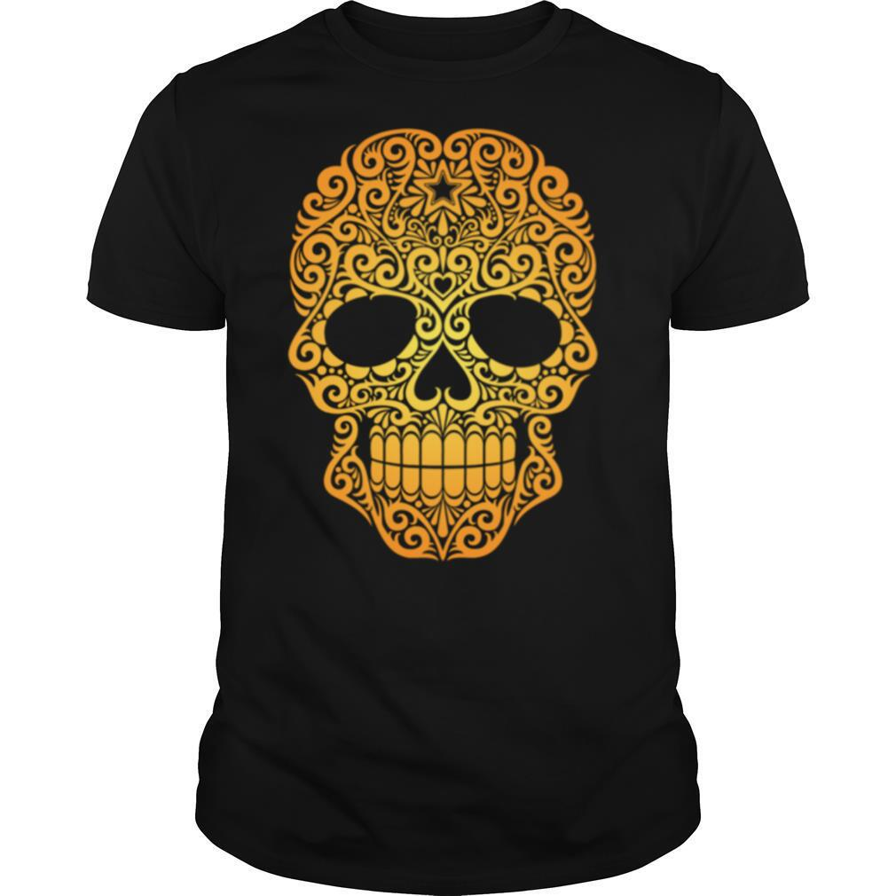 Yellow Swirling Sugar Skull Day Of The Dead shirt Classic Men's