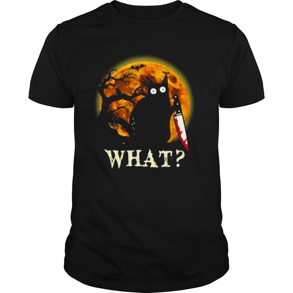Black Cat What Murderous With Knife Halloween shirt Classic Men's