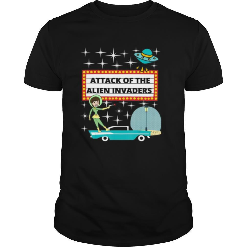 Retro 50s Sci fi Attack of the Alien Invaders shirt Classic Men's