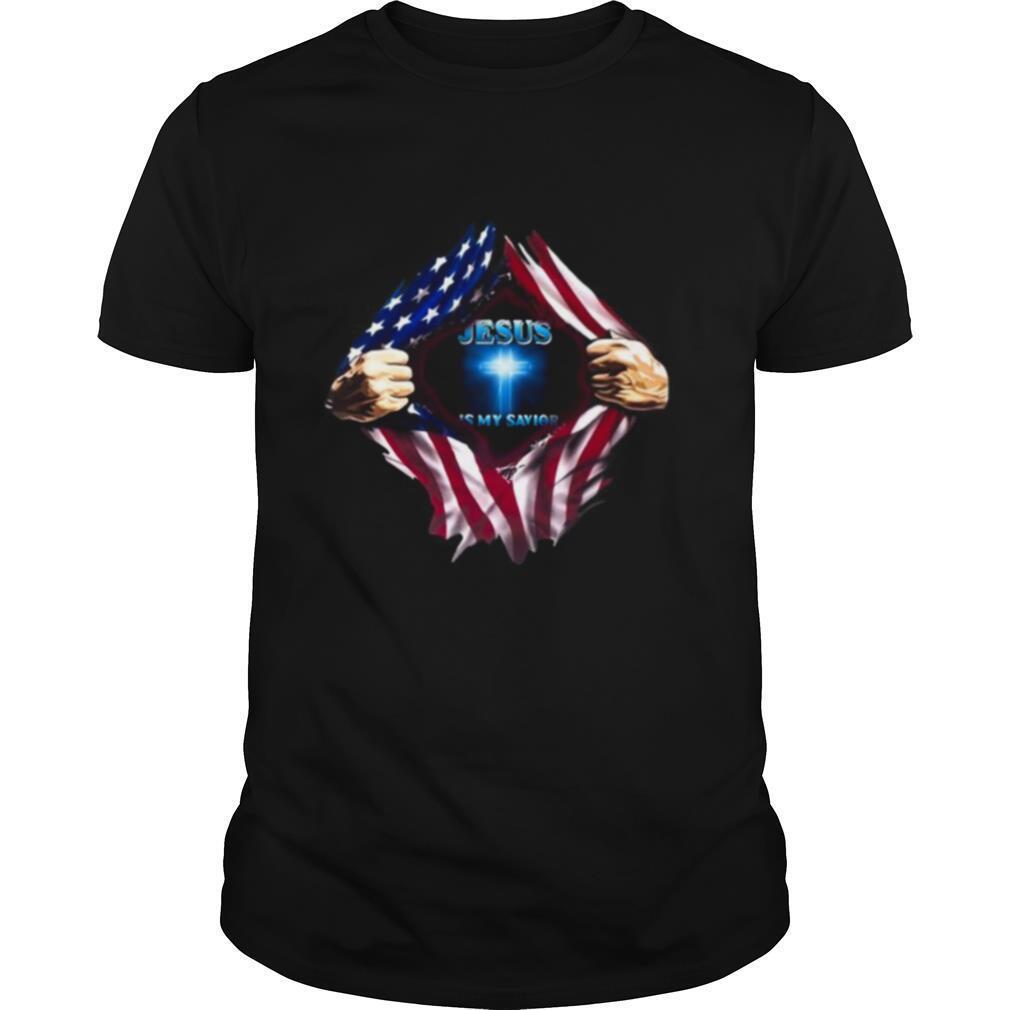 Blood insides american flag jesus is my savior shirt Classic Men's