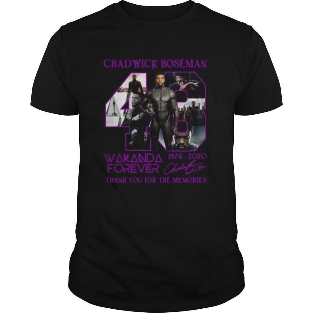 Chadwick Boseman 43 Wakanda Forever 1976 2020 Signature Thank You For The Memories shirt Classic Men's