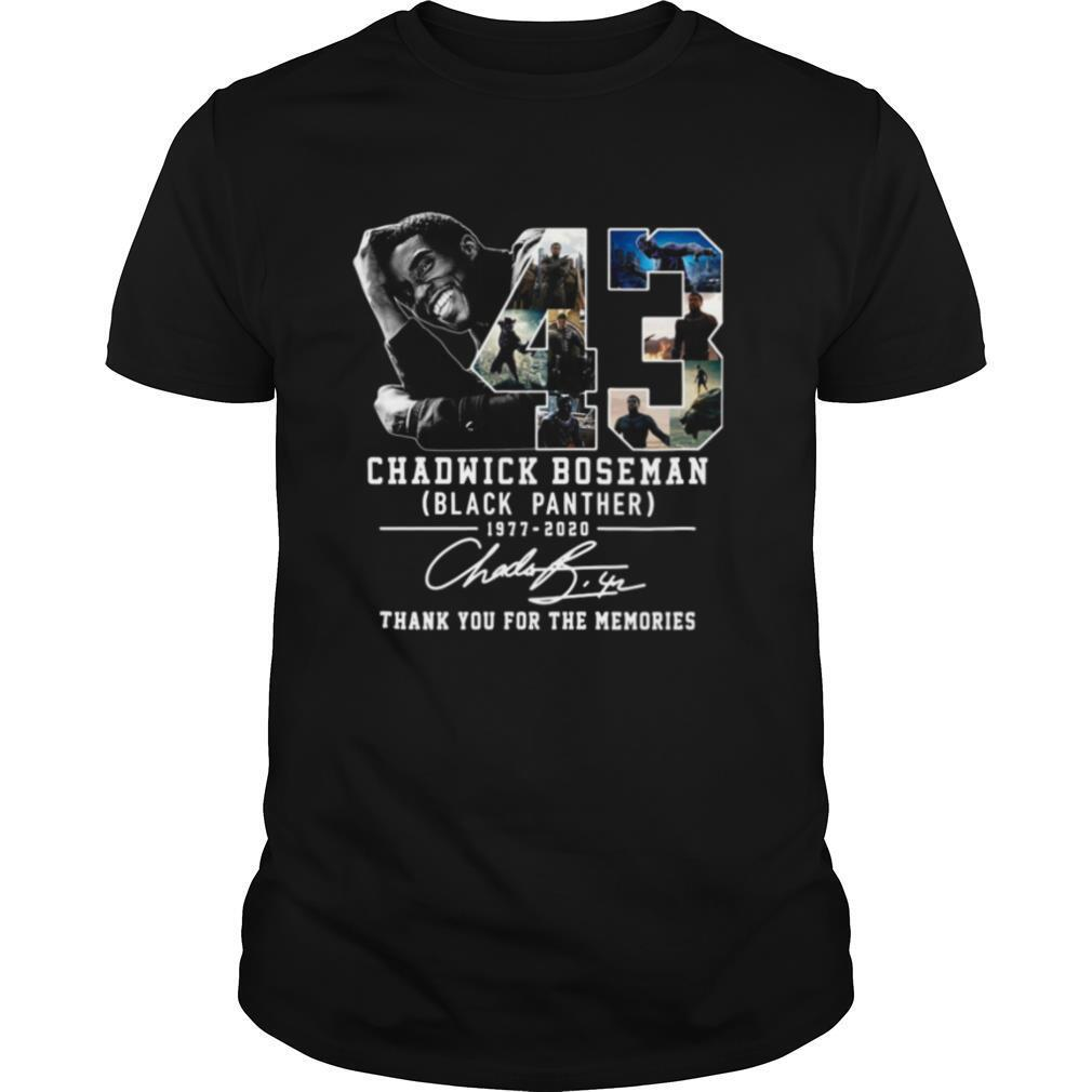 43 Years 1977 2020 Chadwick Boseman Black Panther Thank You For The Memories Signature shirt Classic Men's