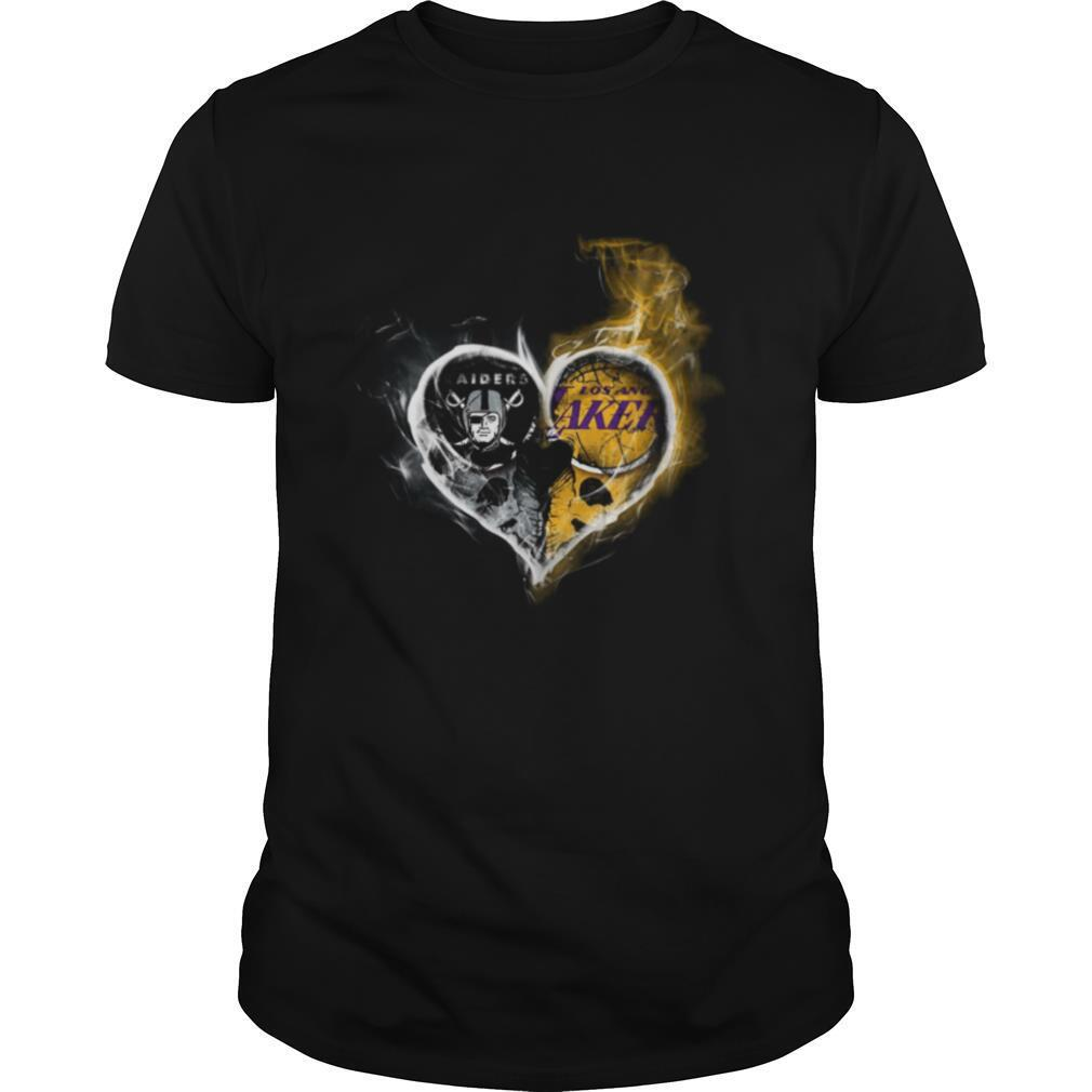 Heart Las Vegas Raiders and Los Angeles Lakers shirt Classic Men's