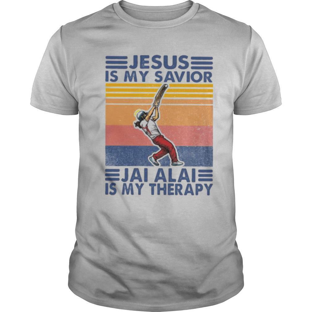 Jesus is my savior jai alai is my therapy vintage retro shirt Classic Men's