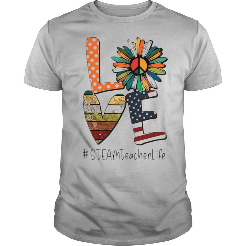 Love Steamteacherlife Peace Sunflower American Flag shirt Classic Men's