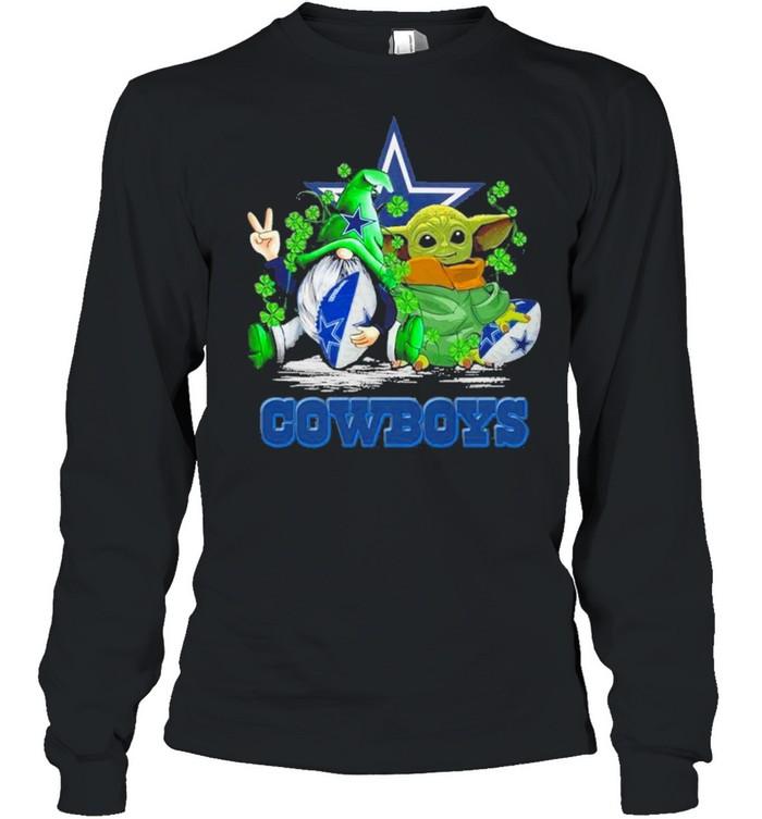 Baby Yoda and Gnomes St Patricks Day Dallas Cowboys 2021 shirt Long Sleeved T-shirt