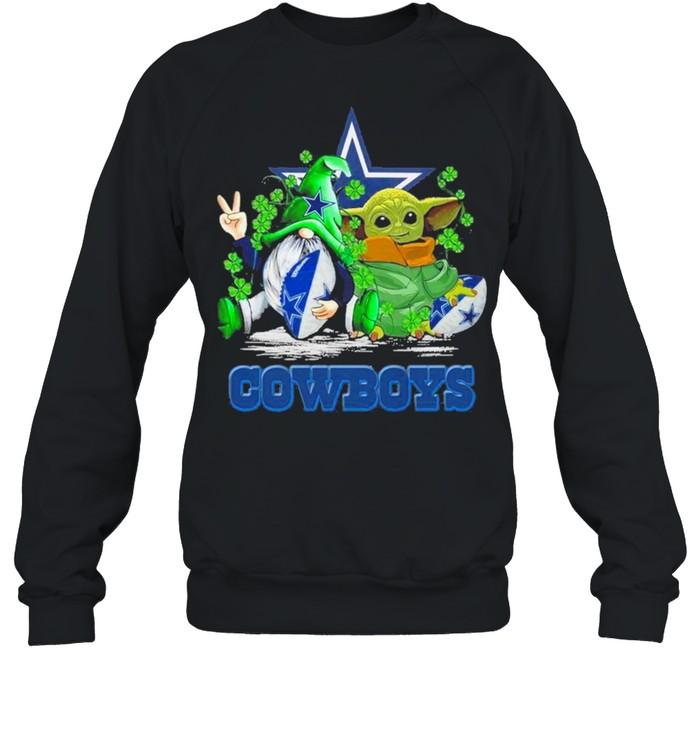 Baby Yoda and Gnomes St Patricks Day Dallas Cowboys 2021 shirt Unisex Sweatshirt