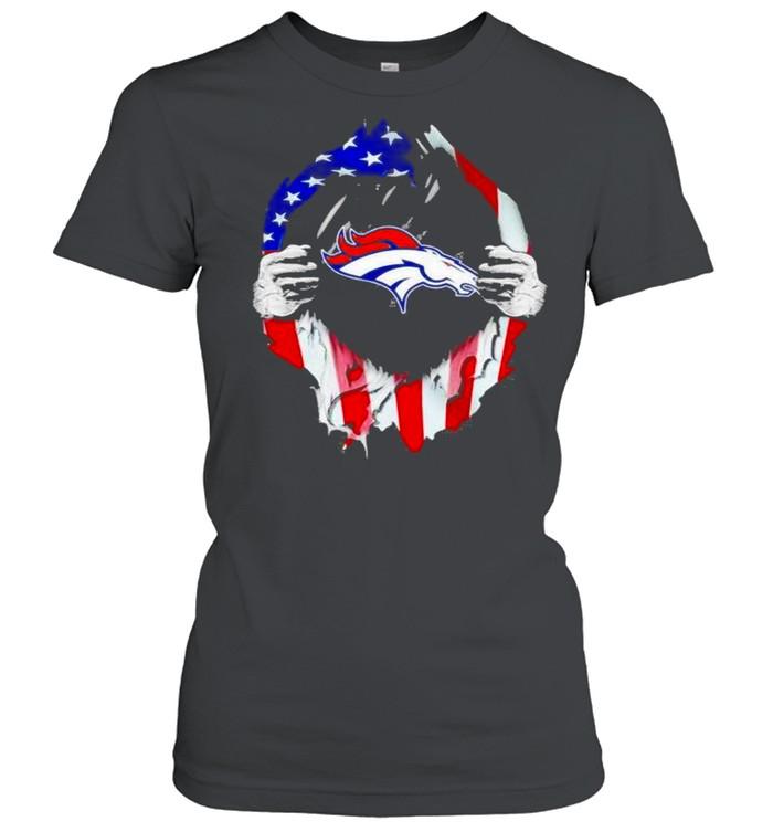 Blood inside Denver Broncos NFL American flag shirt Classic Women's T-shirt