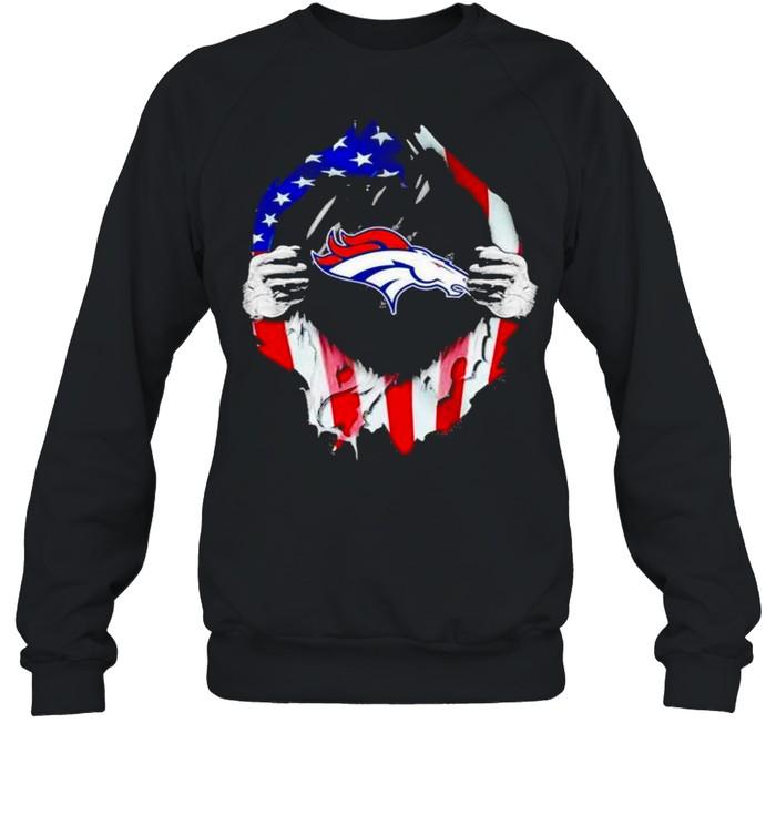 Blood inside Denver Broncos NFL American flag shirt Unisex Sweatshirt