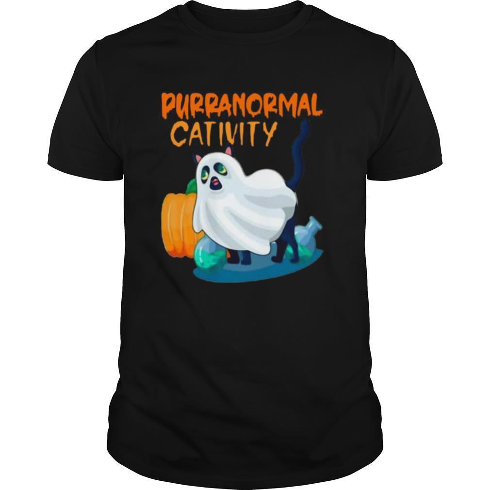 Ghost Cat Purranormal Activity Funny Halloween shirt Classic Men's