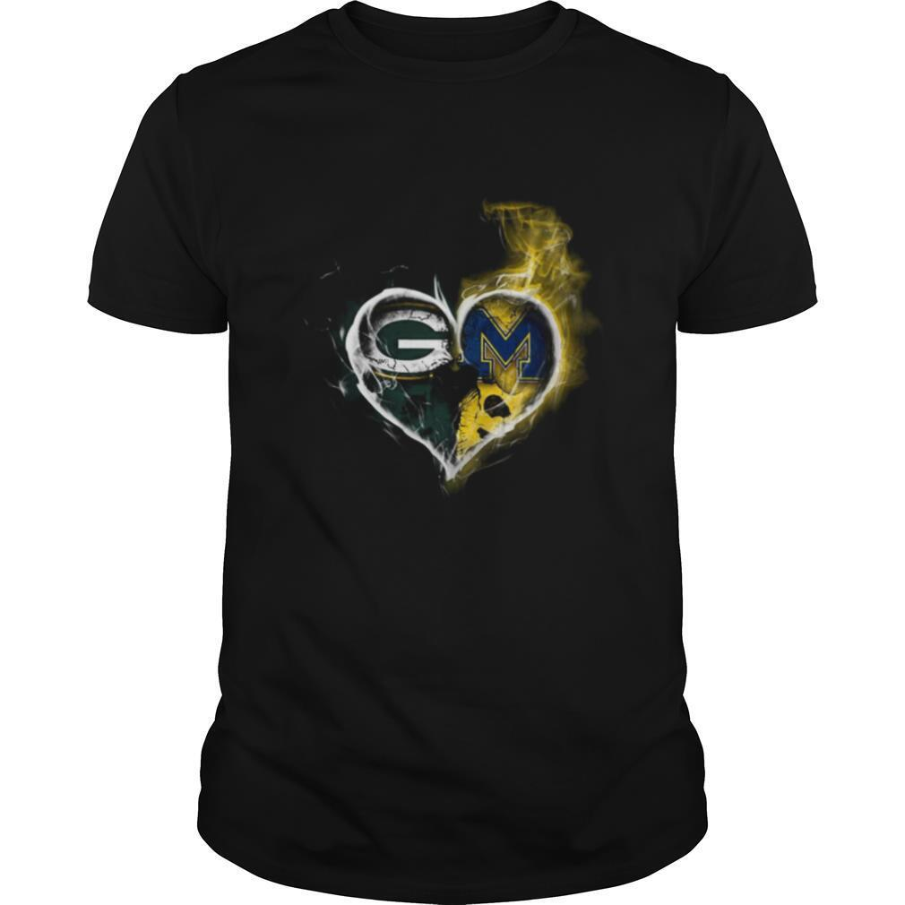 Heart Green Bay Packers and Michigan Wolverines Football shirt Classic Men's