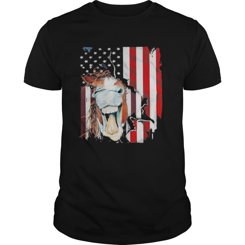 Horse American flag veteran Independence Day shirt Classic Men's