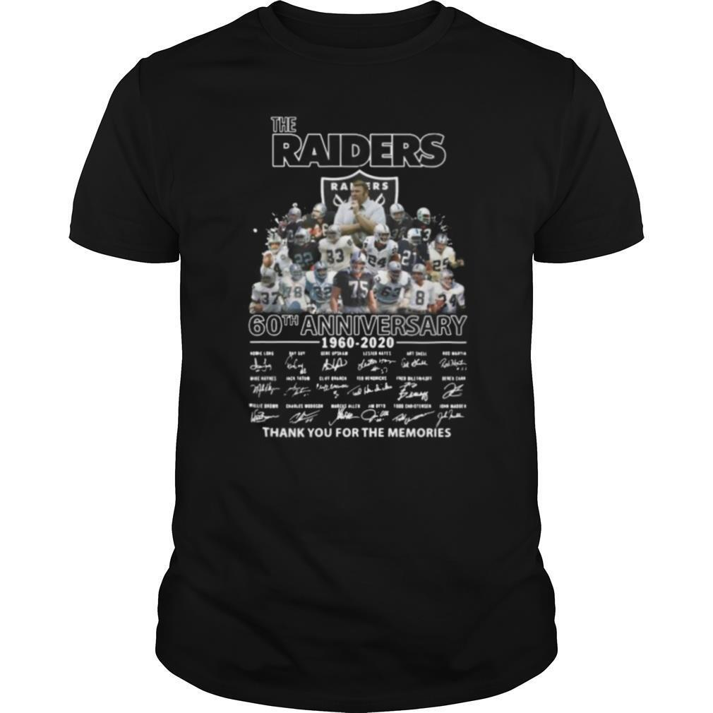 The raiders 60th anniversary 1960 2020 thank you for the memories signatures shirt Classic Men's