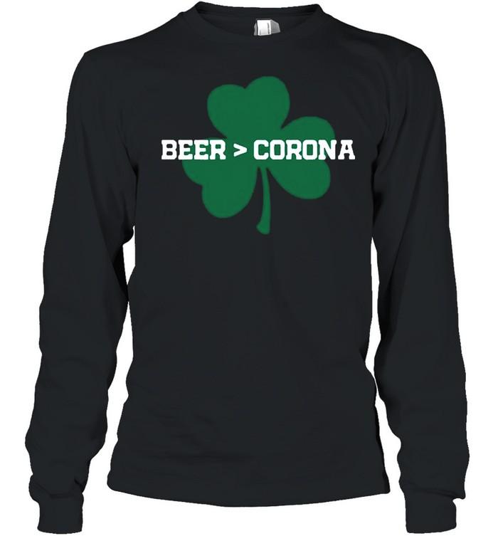 Beer Corona Saint Patricks Day 2021 shirt Long Sleeved T-shirt