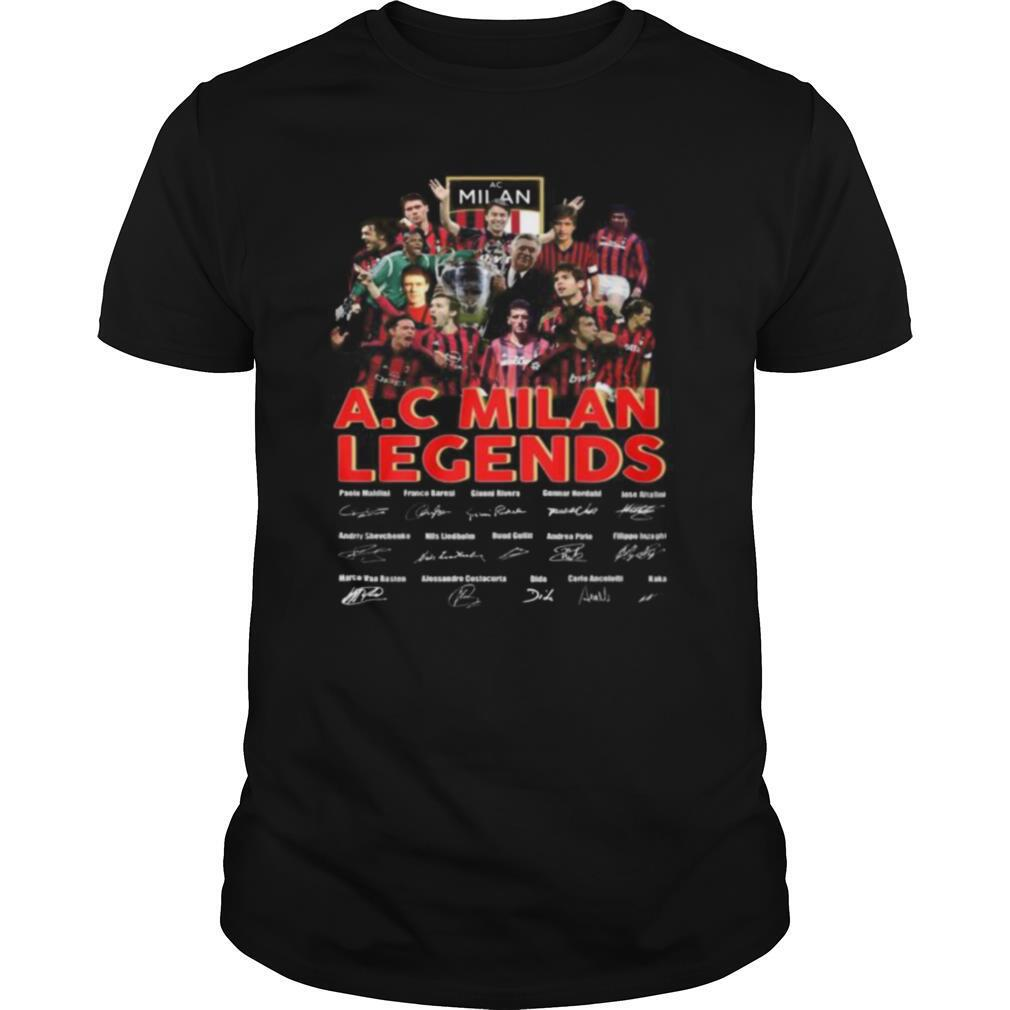 A.c milan legends soccer players signatures shirt Classic Men's