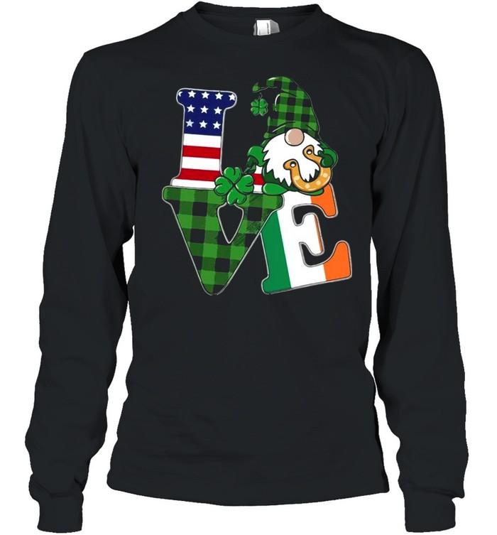 American flag Gnome Love St Patricks Day shirt Long Sleeved T-shirt