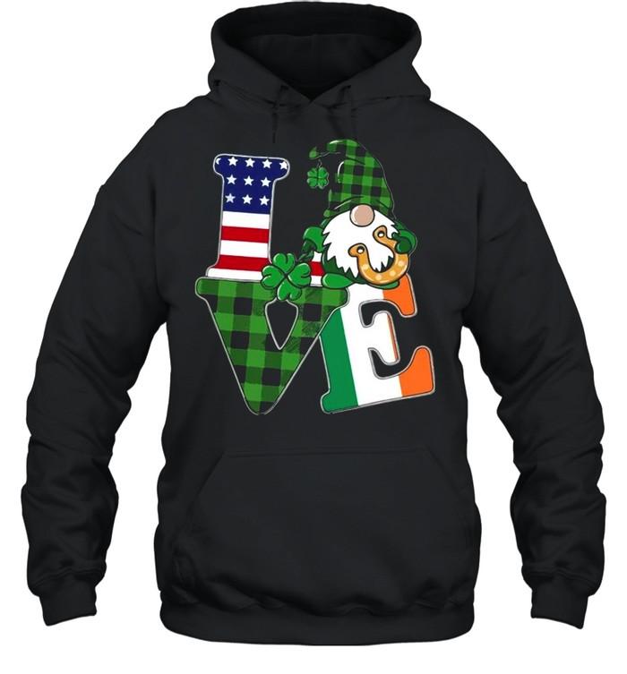 American flag Gnome Love St Patricks Day shirt Unisex Hoodie