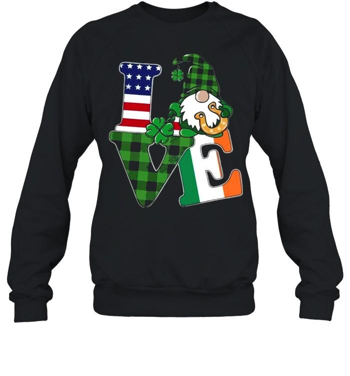 American flag Gnome Love St Patricks Day shirt Unisex Sweatshirt
