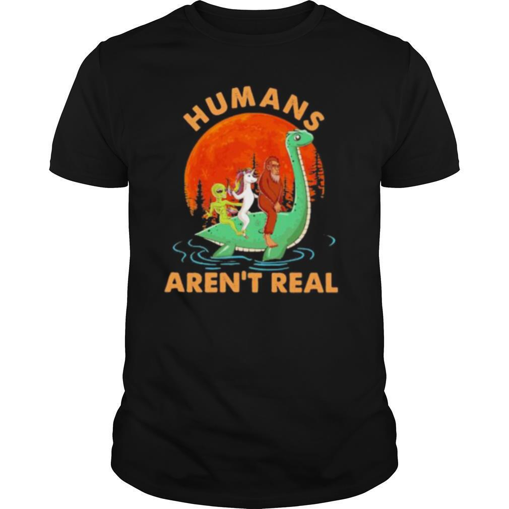 Halloween humans aren't real alice unicorn and bigfoot riding dinosaur shirt Classic Men's