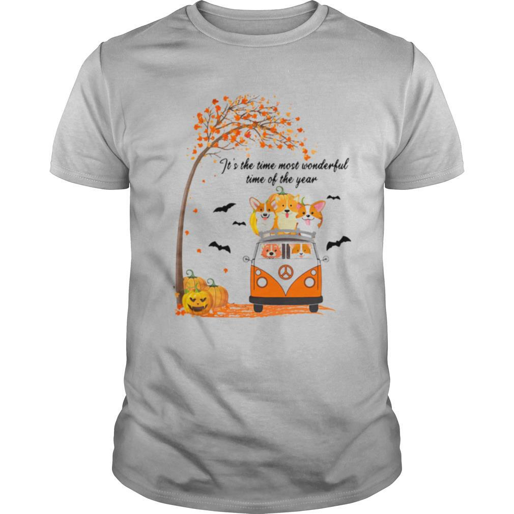 Its The Time Most Wonderful Time Of The Year Peace Bus Corgi Pumpkin Halloween shirt Classic Men's