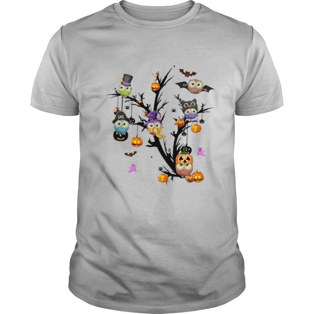 Owls Pimpkin Tree Halloween shirt Classic Men's