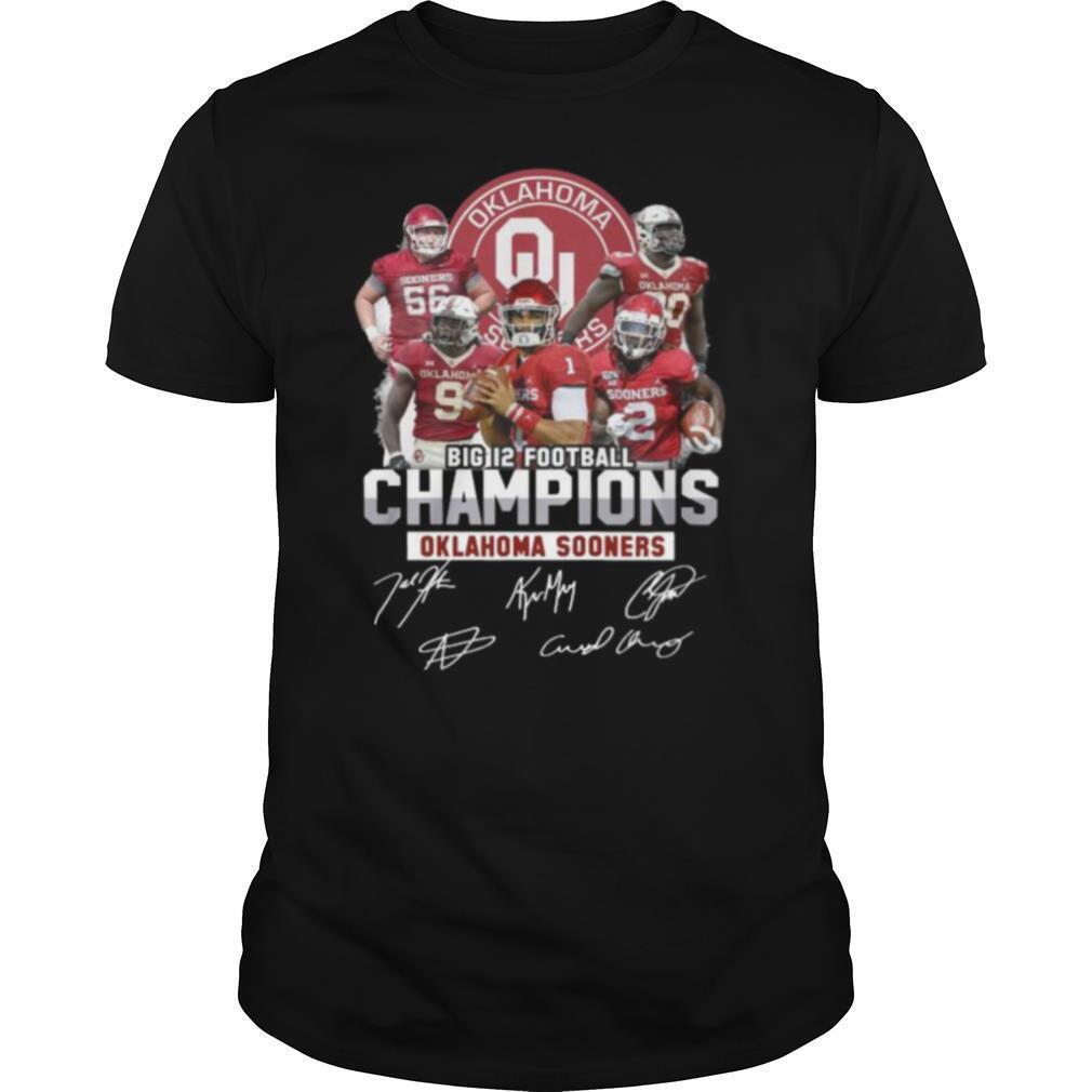 Big 12 football champions oklahoma ma sooners signatures shirt Classic Men's