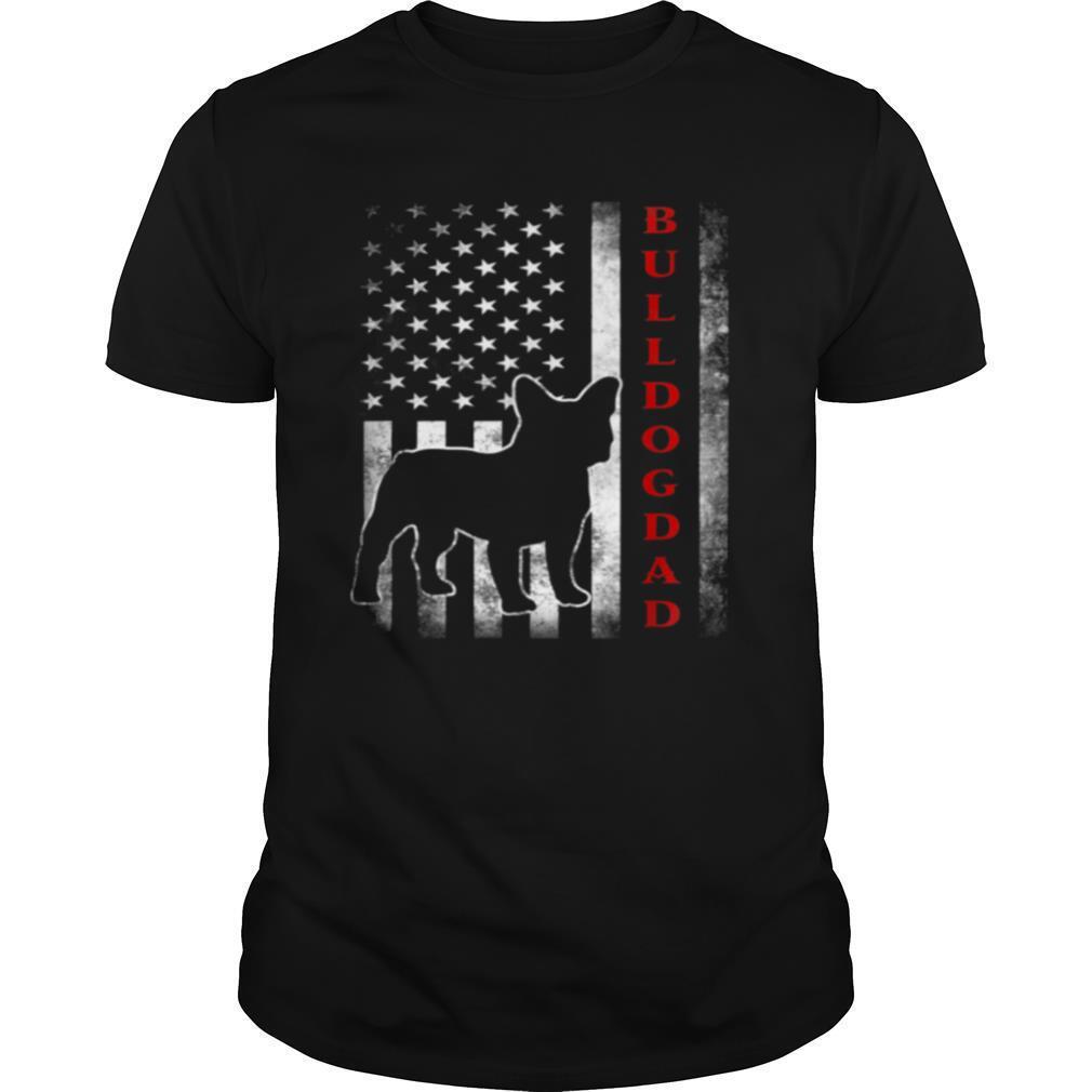 Bulldog Dad With Proud American Flag Dog shirt Classic Men's