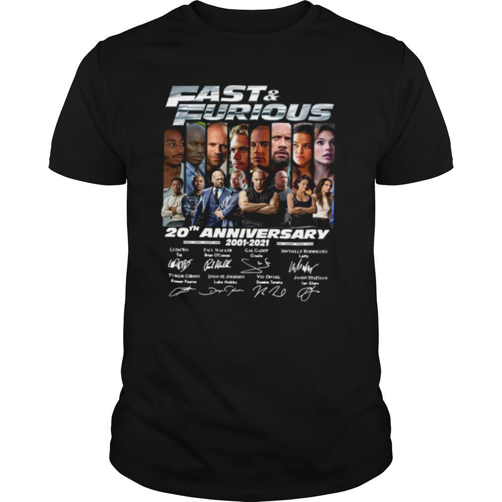Fast And Furious 20th Anniversary 2001 2021 Signatures shirt Classic Men's