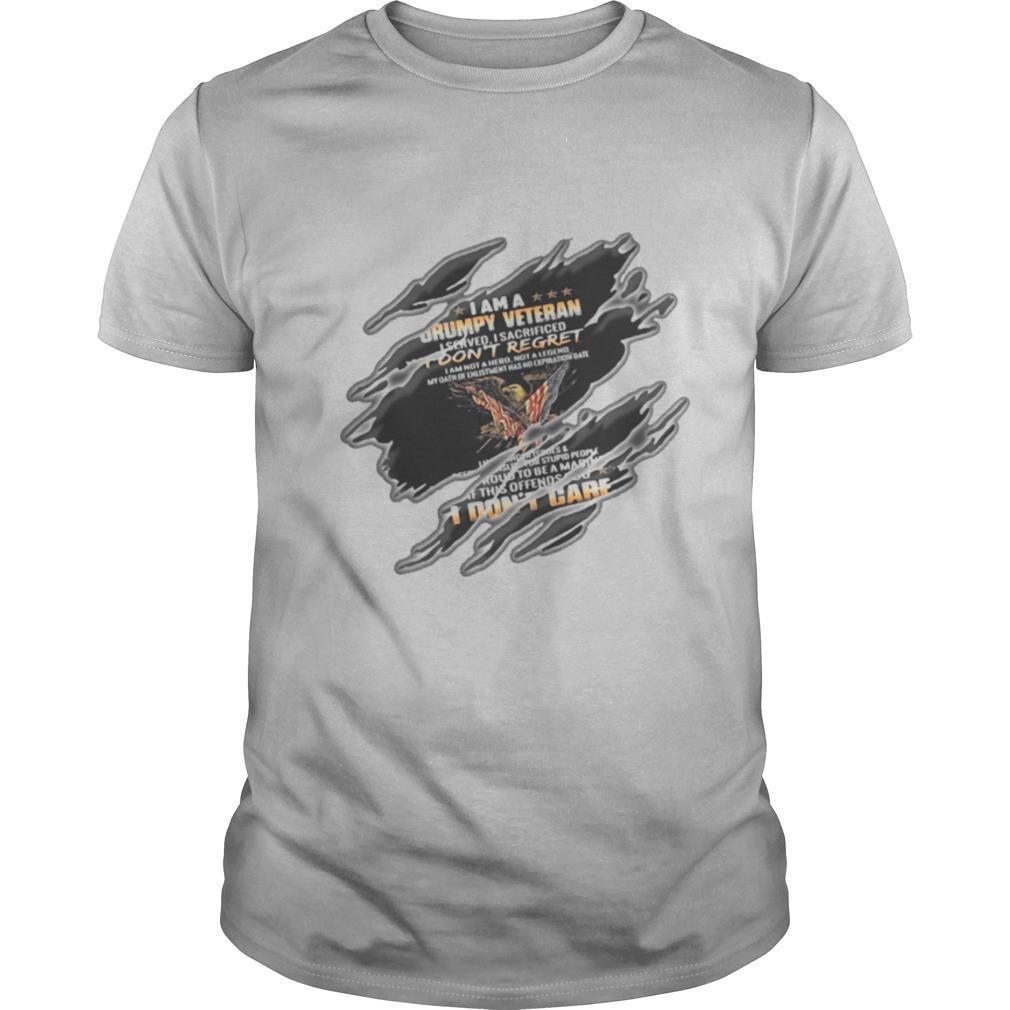 I am a grumpy veteran i served i sacrificed i don't regret i don't care flag shirt Classic Men's