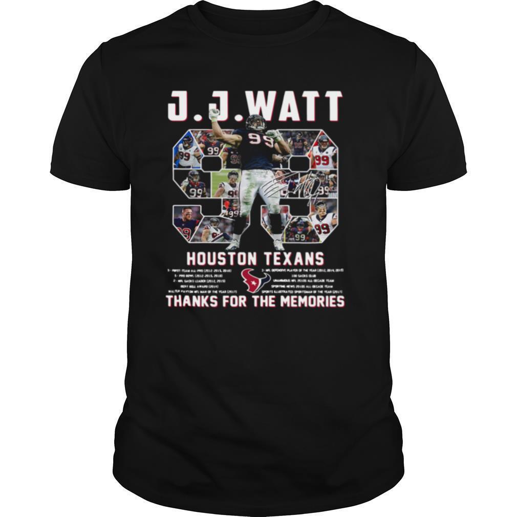 J J Watt 99 Houston Texans Thank You For The Memories Signature shirt Classic Men's