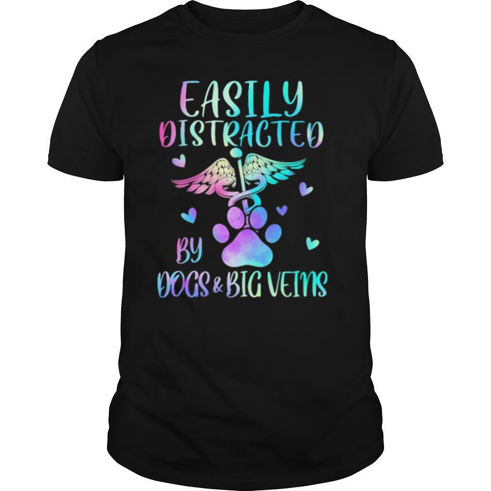 Registered Nurse Logo Easily Distracted By Dogs And Big Veins shirt Classic Men's