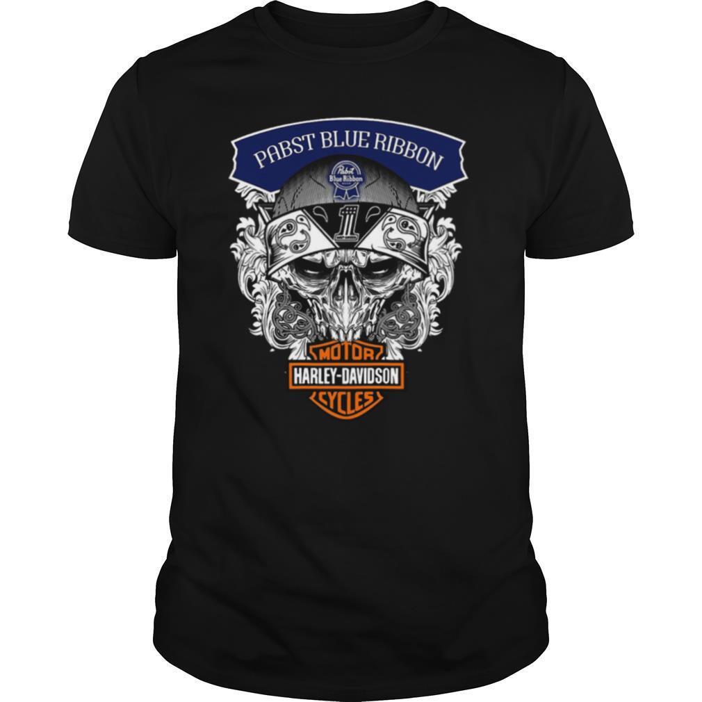 Skull Harley Davidson Pabst Blue Ribbon shirt Classic Men's