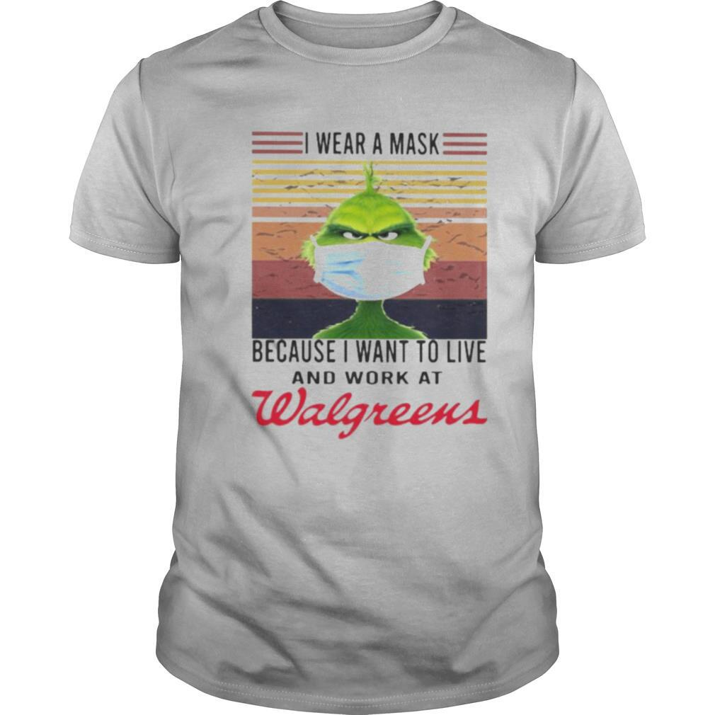 Grinch i wear a mask because i want to live and work at walgreens vintage retro shirt Classic Men's