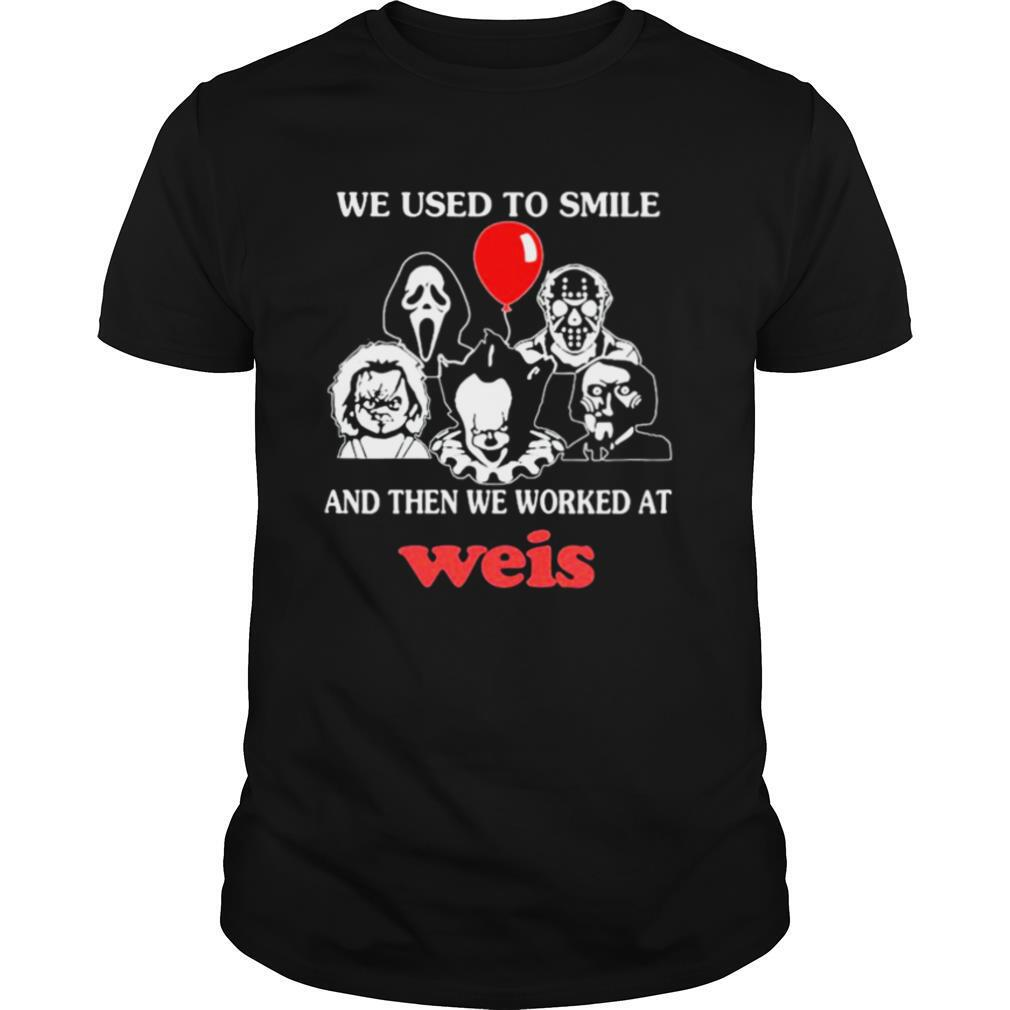 Halloween horror characters we used to smile and then we worked at weis shirt Classic Men's